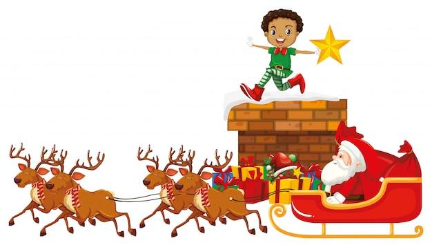 Père Noël En Traîneau Avec Rennes Et Elf Vecteur gratuit