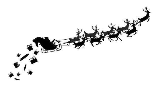 Père Noël Volant Dans Un Traîneau Avec Des Rennes. Illustration. Objet. Vecteur Premium