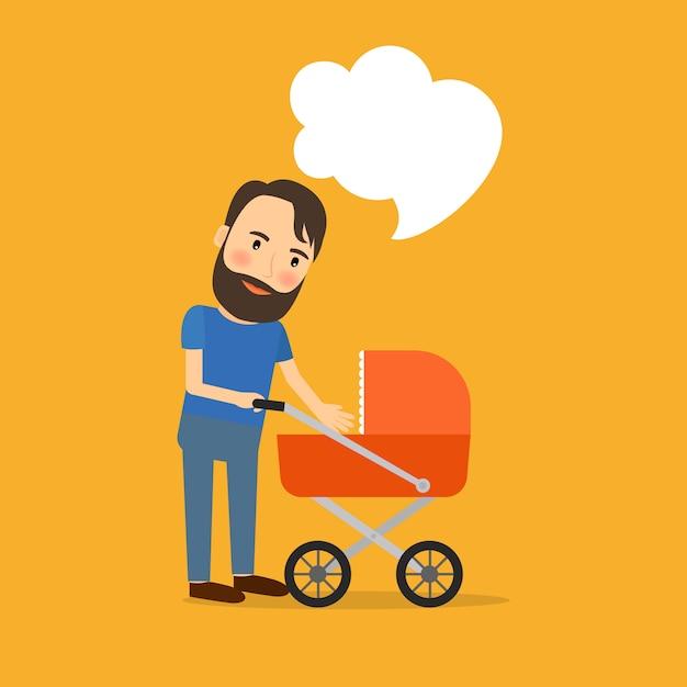 Père s'occupe de l'enfant Vecteur Premium