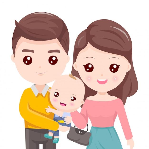 Père tenant l'enfant et belle mère Vecteur Premium