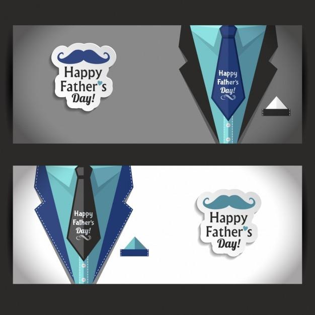 Pères heureux bannière jour ensemble Vecteur gratuit