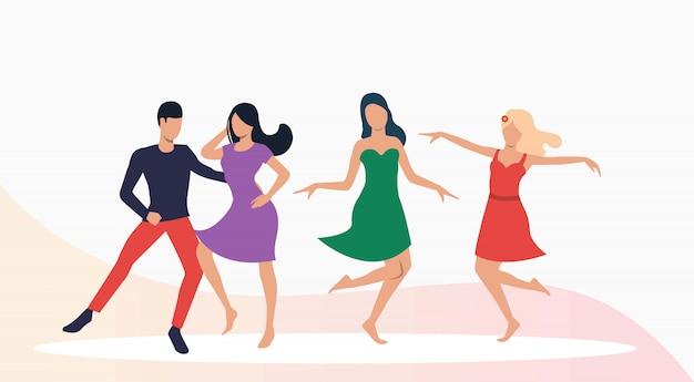 Performance des danseuses de salsa Vecteur gratuit