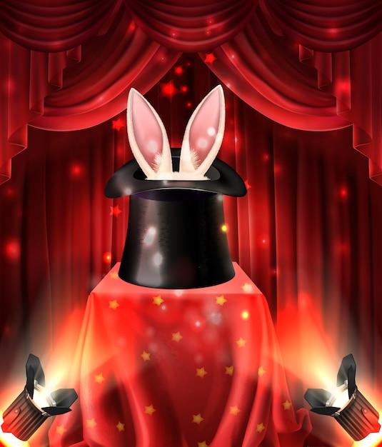 Performance illusionniste, tours de magie avec des animaux Vecteur gratuit