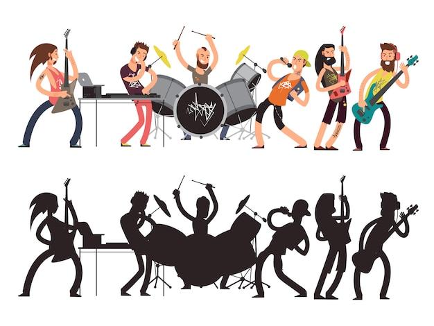 Performance musicale avec de jeunes musiciens. Vecteur Premium