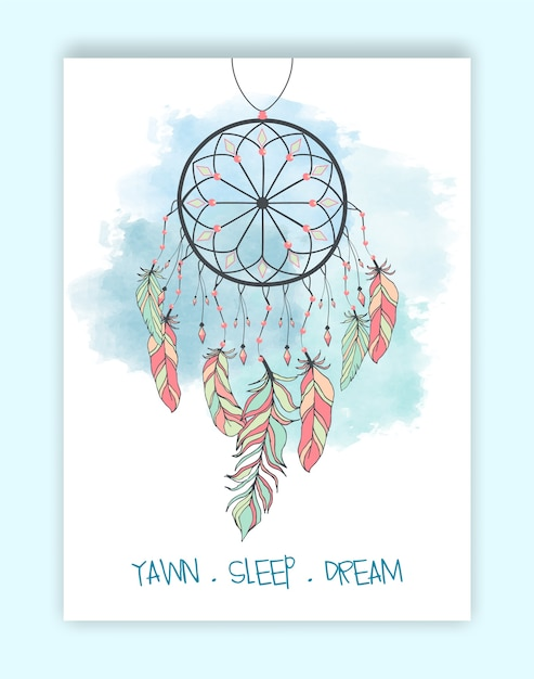 Perles de capteur de rêves amérindiennes dessinées à la main. Vecteur Premium