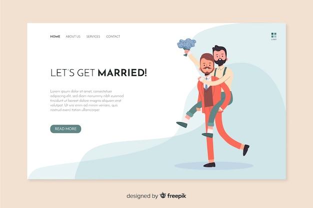 Permet de se marier page de destination de mariage Vecteur gratuit