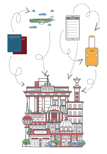 Permet de voyager illustration en style linéaire Vecteur Premium