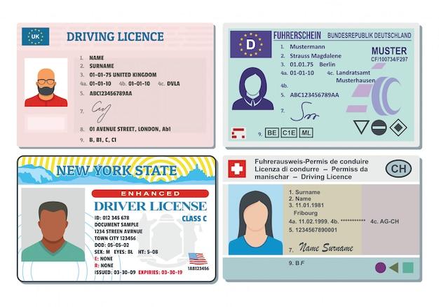 Permis de conduire Vecteur Premium