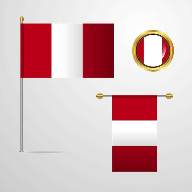 Pérou, agitant la conception du drapeau avec le vecteur insigne Vecteur Premium