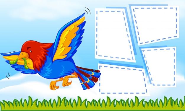 Perroquet sur modèle de note Vecteur gratuit