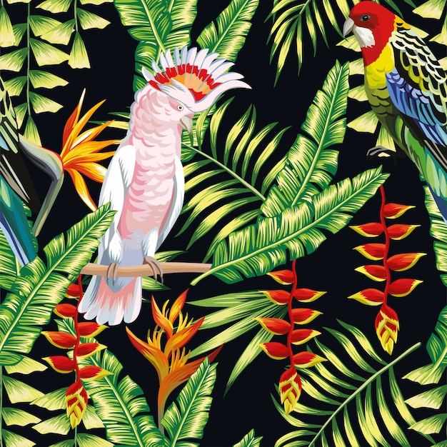 Perroquet tropical, fleurs, liane, feuilles Vecteur Premium