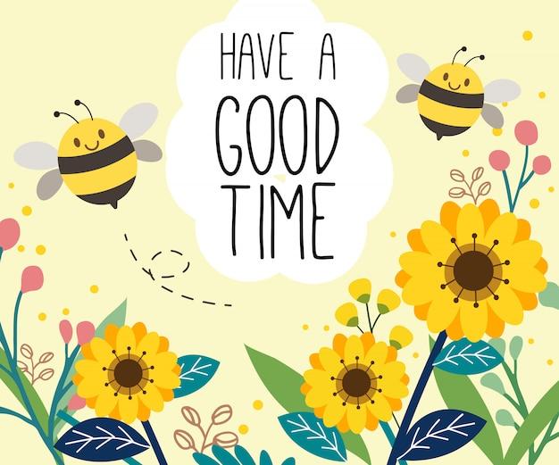 Le personnage de l'abeille mignonne sur le jardin de tournesol. Vecteur Premium