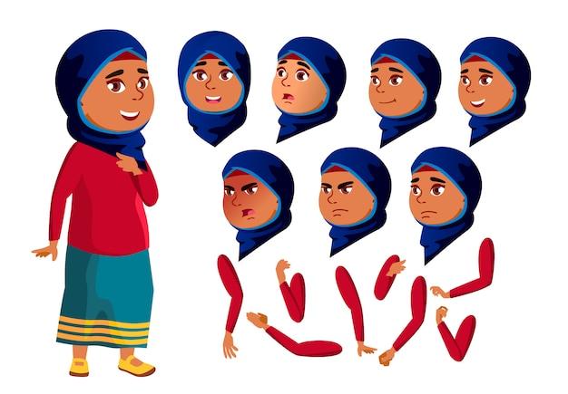 Personnage adolescente. arabe. création constructeur pour l'animation. face aux émotions, les mains. Vecteur Premium