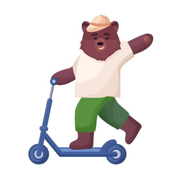 Le Personnage Animal Est Marron, Un Ours En Short, Un T-shirt Et Une Casquette Chevauchent Un Scooter, Repos Sportif Actif En été. Vecteur Premium