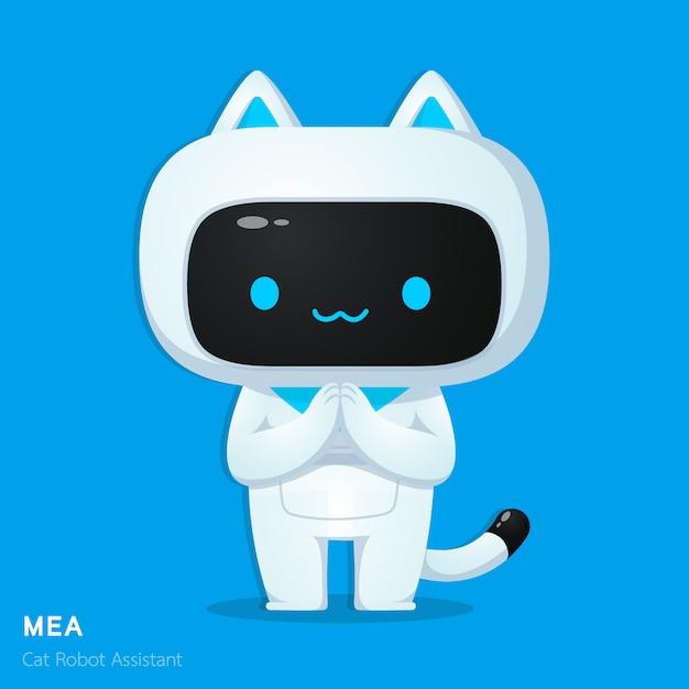 Personnage d'assistance de chat mignon ai robot en respectant les illustrations d'action Vecteur Premium
