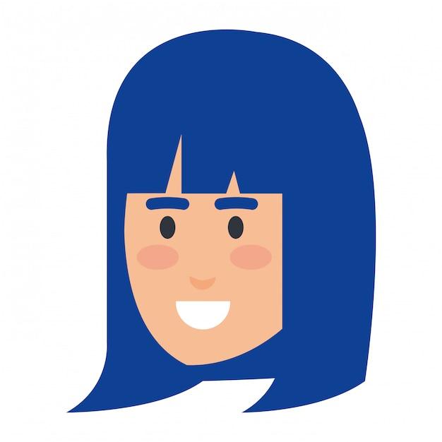 Personnage avatar belle tête de femme Vecteur Premium