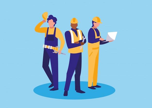 Personnage avatar de groupe de travailleurs industriels Vecteur Premium