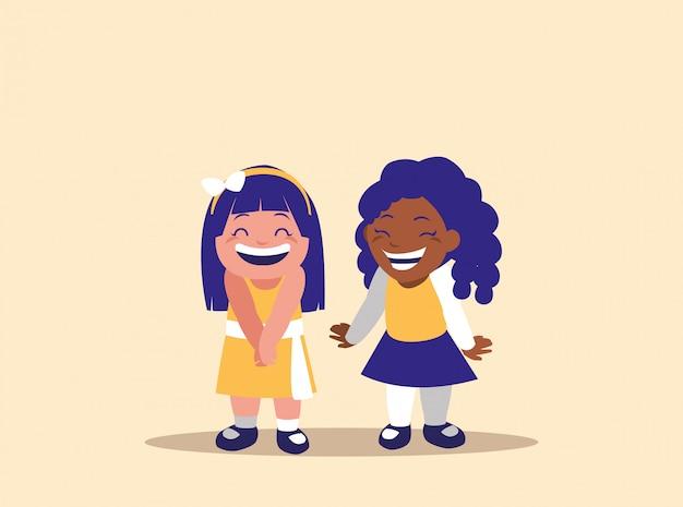 Personnage avatar de petites filles mignonnes Vecteur Premium