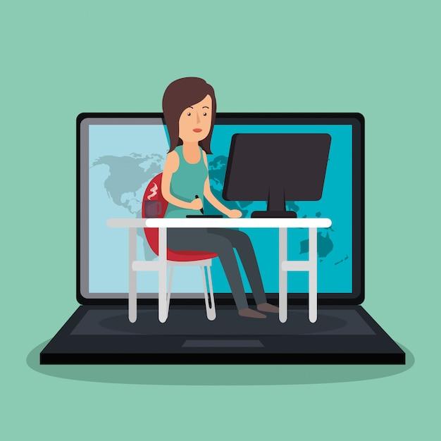 Personnage avatar de travail femme d'affaires Vecteur gratuit