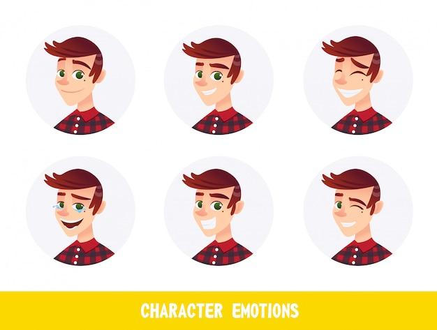 Personnage avatars des émotions cartoon flat. Vecteur Premium