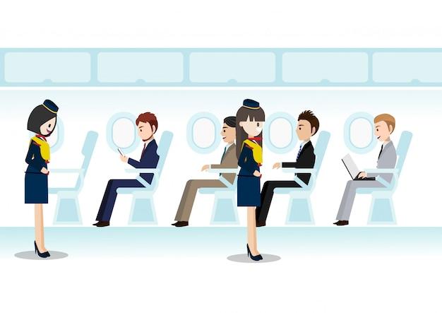 Personnage de bande dessinée avec une belle hôtesse de l'air sur le passager à réaction et le vol du siège Vecteur Premium