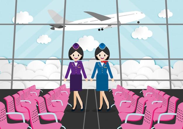 Personnage de bande dessinée avec salle de passagers dans l'aérogare et belle hôtesse de l'air Vecteur Premium