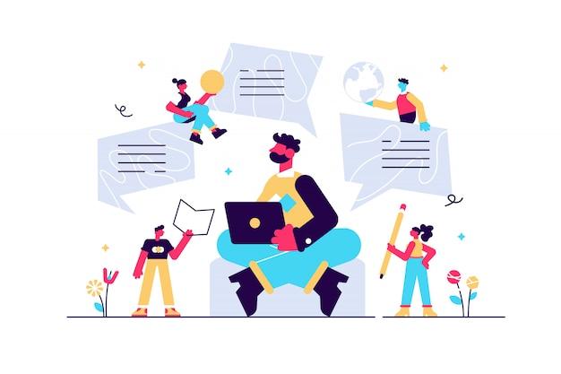 Personnage De Blogueur, Blogging Créatif, Publication De Blog Commercial, Rédaction, Illustration, Stratégie De Marketing De Contenu. Marketing De Contenu, Smm. Vecteur Premium