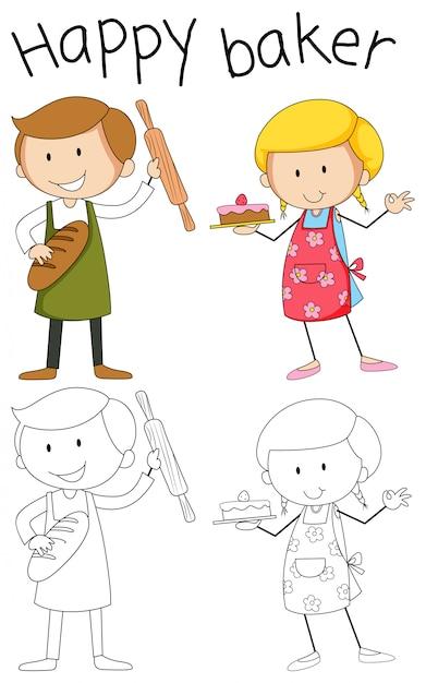 Personnage de boulanger doodle sur fond blanc Vecteur gratuit