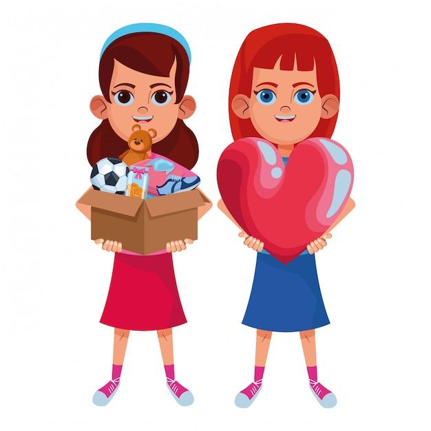 Personnage de carton avatar jeunes enfants Vecteur Premium