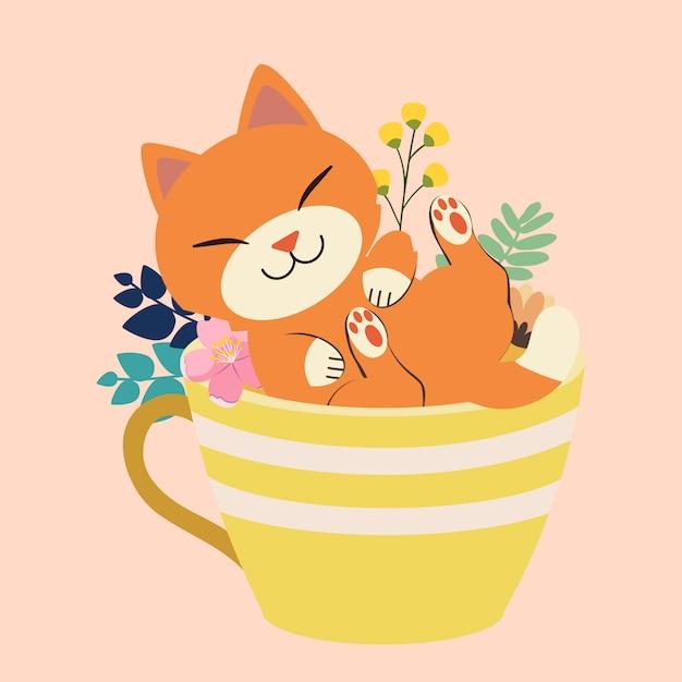 Le personnage de chat mignon assis dans une grande tasse Vecteur Premium