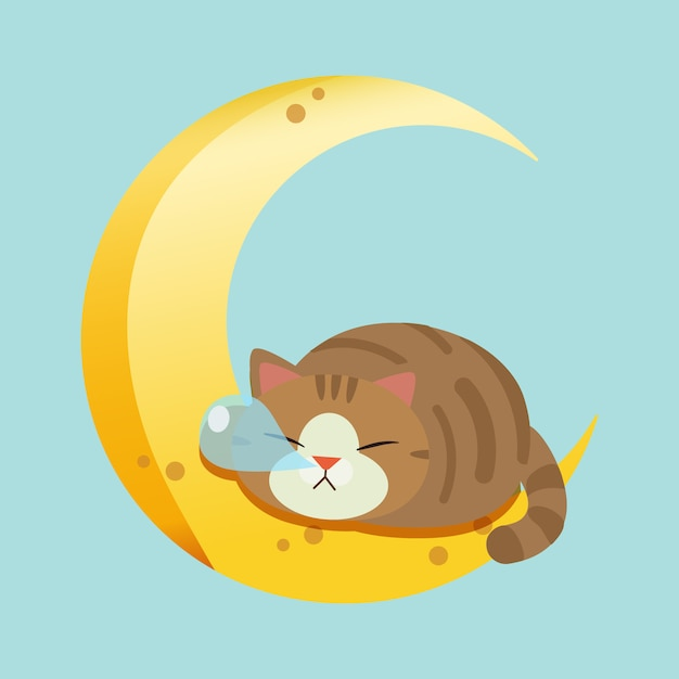 Le personnage de chat mignon qui dort sur la lune. Vecteur Premium