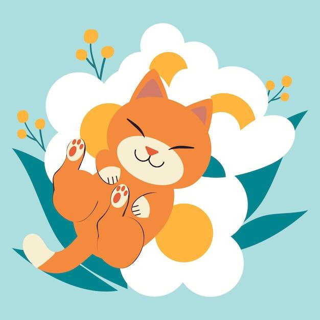 Le personnage de chat mignon qui dort sur la très grande fleur blanche. chat a l'air heureux. Vecteur Premium