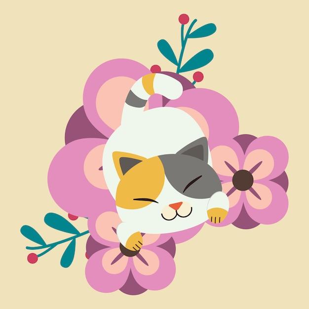 Le personnage de chat mignon qui dort sur la très grande fleur pourpre. chat a l'air heureux. Vecteur Premium