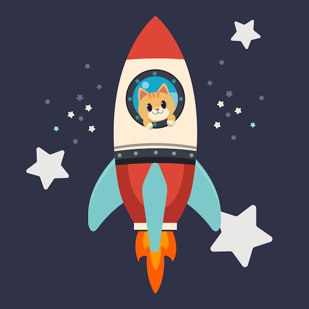 Le personnage de chat mignon reste à la portée de la grande fusée. le chat souriant et il a l'air heureux et excitant Vecteur Premium