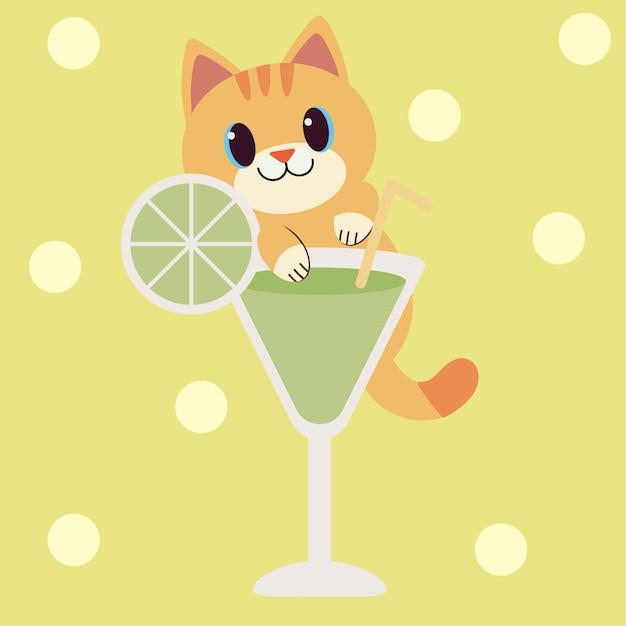 Un personnage de chat mignon saisir un verre à cocktail transparent Vecteur Premium