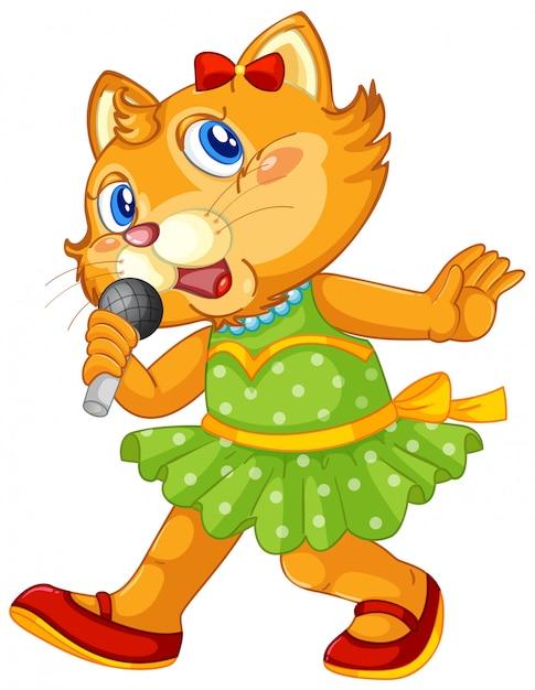 Un personnage de chat mignon Vecteur gratuit