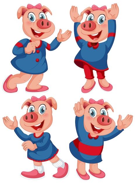 Personnage de cochon isolé avec une expression heureuse Vecteur gratuit
