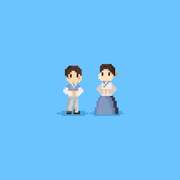 Le personnage coréen de pixel porte le hanbok Vecteur Premium