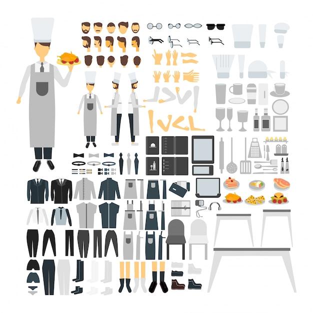Personnage de cuisine défini pour l'animation avec différents points de vue, coiffure, émotion, pose et geste. Vecteur gratuit