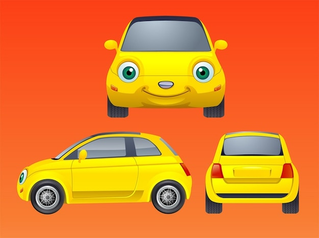 Personnage de dessin anim sourire vecteur de voiture - Dessin voiture profil ...