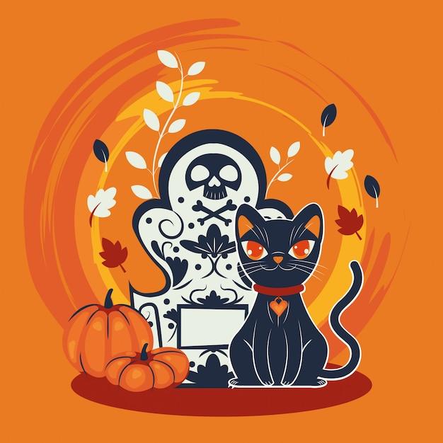 Personnage déguisé de chat d'halloween dans un cimetière Vecteur gratuit