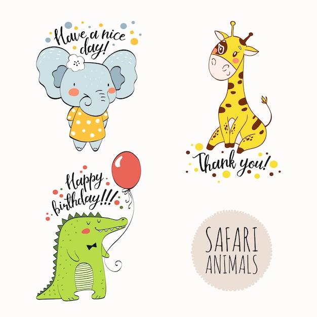 Personnage de dessin animé animaux safari dessinés à la main. Vecteur Premium
