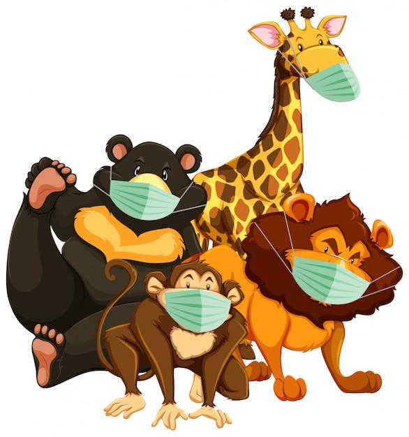 Personnage De Dessin Animé D'animaux Sauvages Portant Un Masque Vecteur gratuit