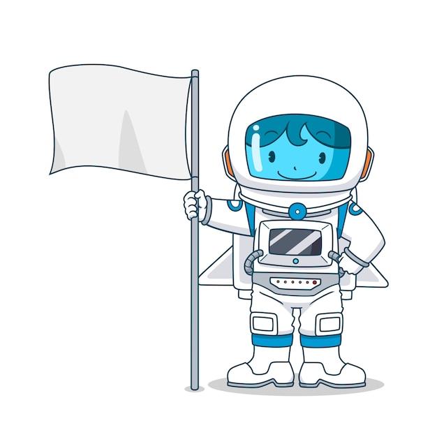 Personnage De Dessin Animé D'astronaute Avec Drapeau Vecteur Premium