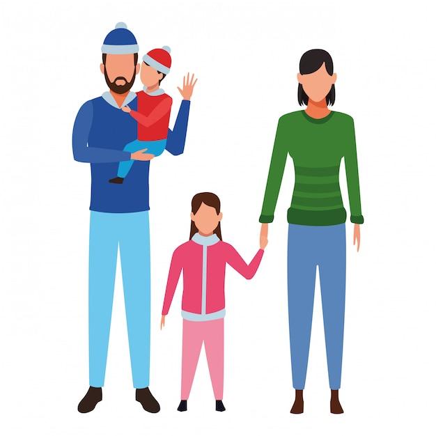 Personnage de dessin animé d'avatar de famille Vecteur Premium