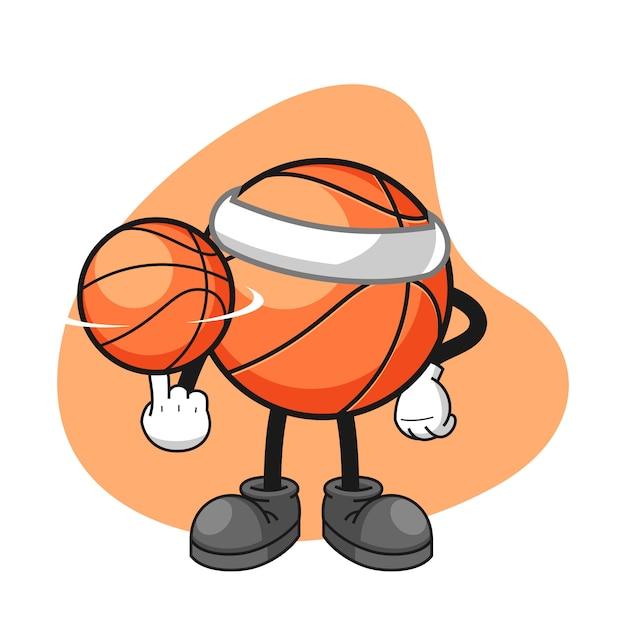 Personnage De Dessin Animé De Basket-ball Tourner Un ...