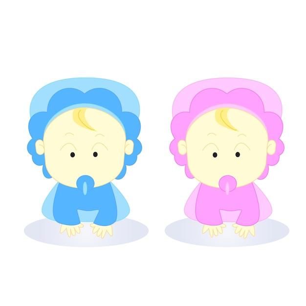 Personnage De Dessin Animé Bébé Fille De Garçon Nouveau Né