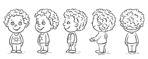 Personnage de dessin animé bébé se retourner Vecteur Premium