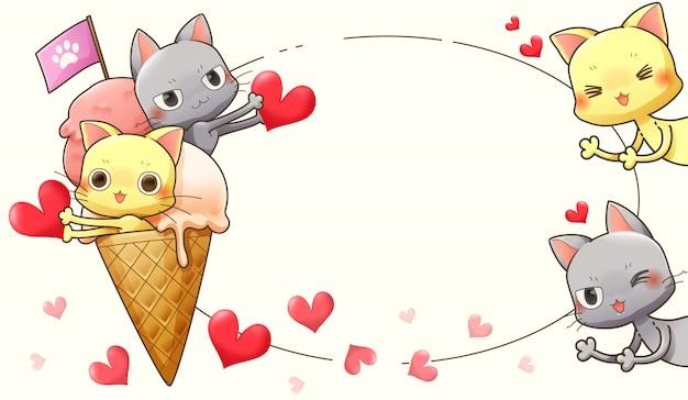 Personnage De Dessin Animé De Chat Crème Glacée Et Coeur