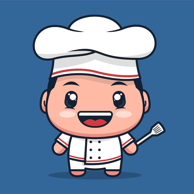 Le Personnage De Dessin Animé De Chef Porte Un Uniforme De Restaurant Blanc Vecteur Premium
